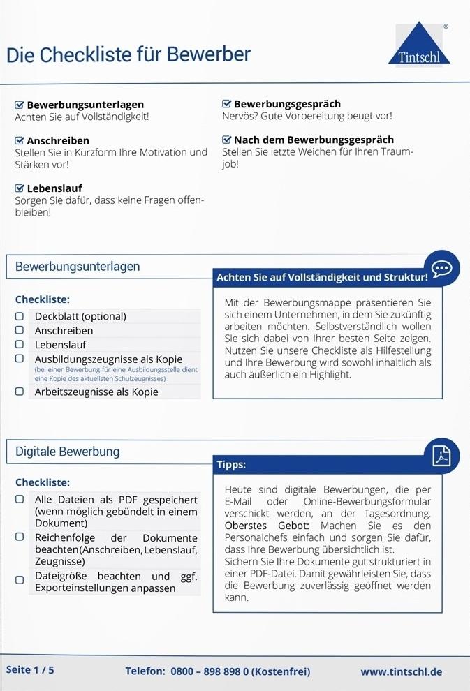 checkliste bewerber